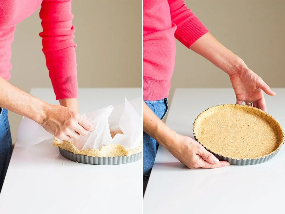 Left image: hands flattening apple tart crust in baking pan using wax paper. Right image: hands showing finished flattened apple tart crust in baking pan.