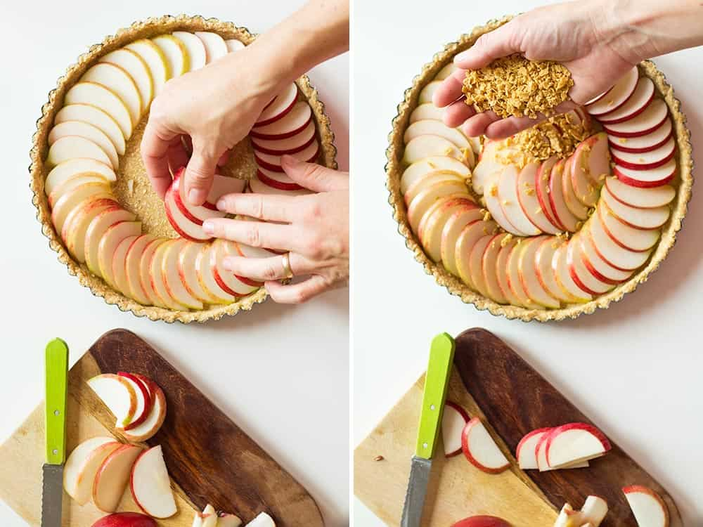 Left image: hands spreading apple slices in crusted baking pan. Right image: hands spreading maple flakes over apple slices.