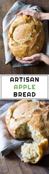 This is a real artisan apple bread with fresh apples. 12-hour starter, knead, rise, fold in apples, rise again, bake, give it a bite and fly to heaven!