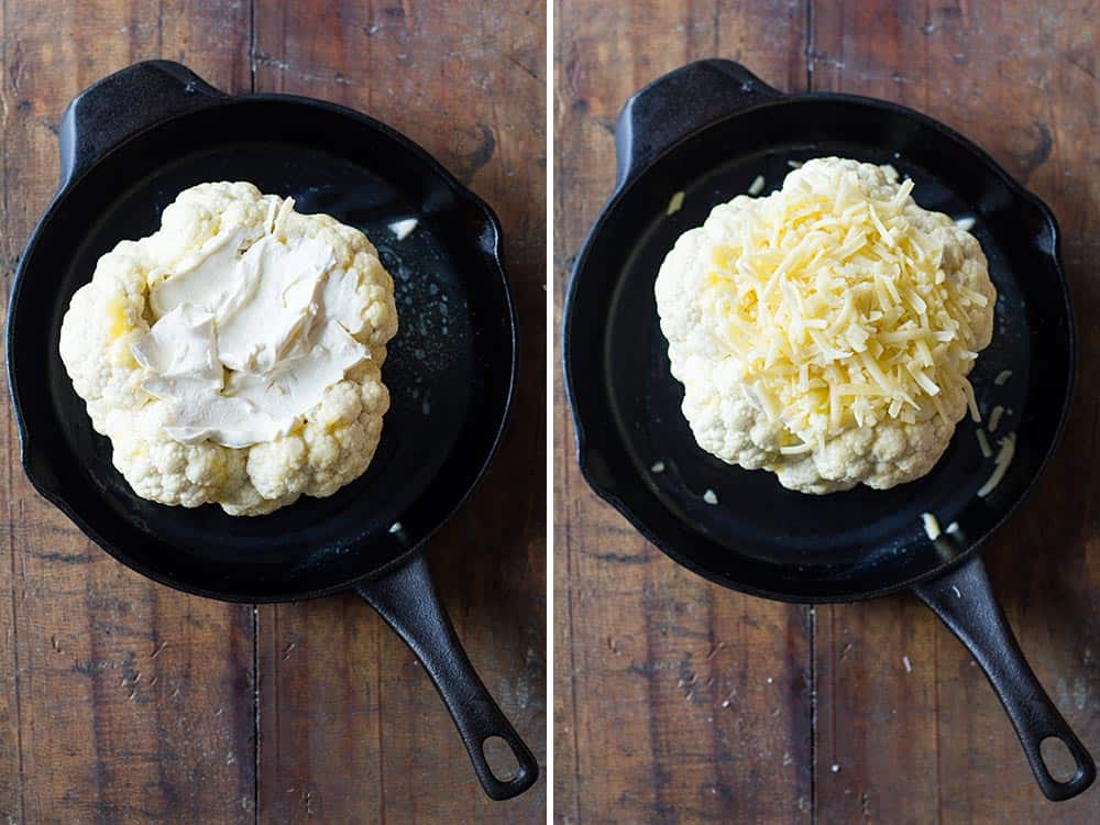 Perfect side dish for the holidays: Whole Roasted Cauliflower with Cheese! No mess, everything prepared ahead, no stress right before guests come.