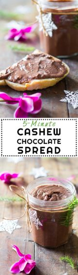 There is literally no better hostess gift than this Cashew Chocolate Spread. All you need is 5 ingredients, 5 minutes, a Vitamix blender and a pretty jar.