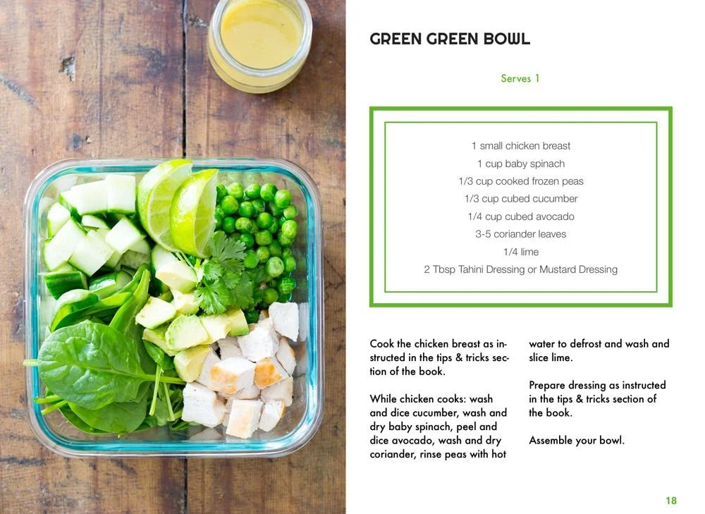 Sample page of TWENTY e-book showing a green bowl salad in a glass container, and the recipe on the side.