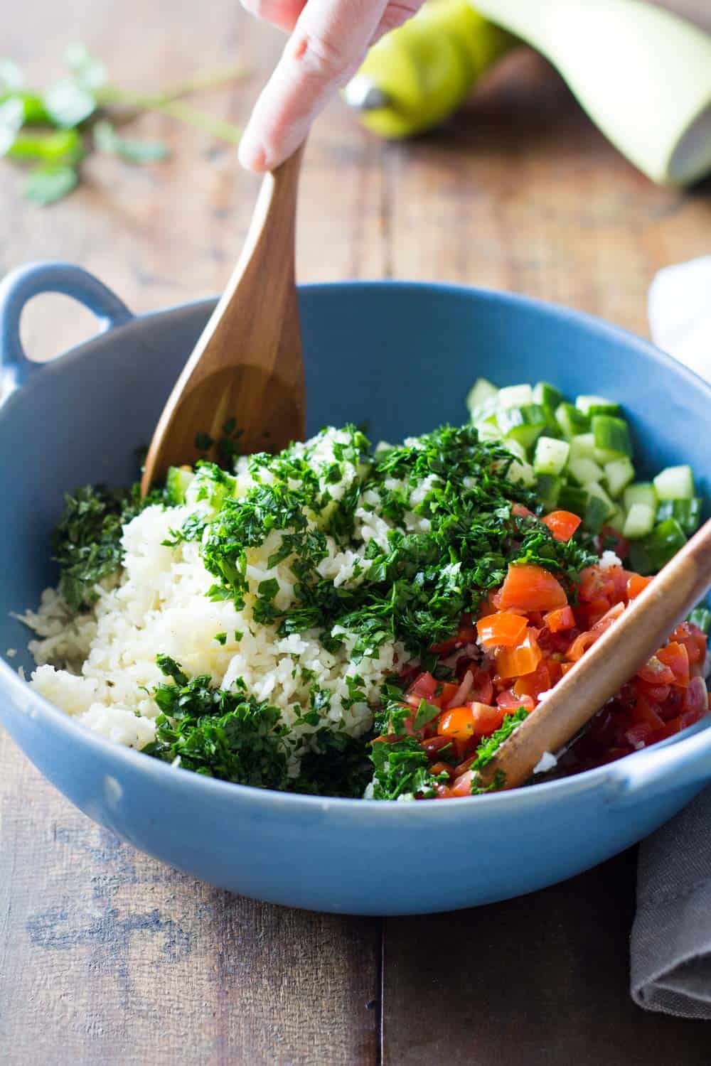 A gluten-free version of my beloved Lebanese tabbouleh: Cauliflower Couscous. An extraordinary way to add in more veggies into your diet and spice them up in a delicious way.