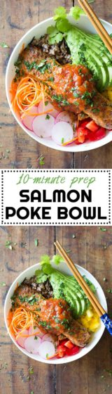 10-minute prep to-die-for Salmon Poke Bowl! Your favorite grain, chopped up veggies and a delicious salmon filet topped with the most amazing sauce!