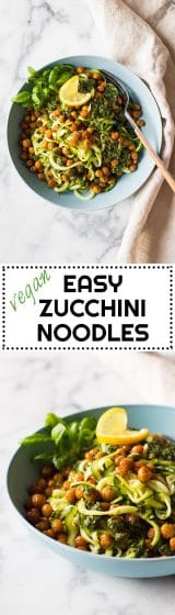 A vegan, super nutritious and Easy Zucchini Noodles Recipe filled with flavor. Spiralized Zucchini, crispy roasted chickpeas and an out of this world Tahini Herb Sauce.