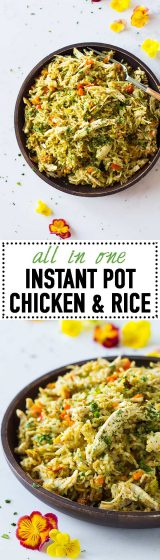 Chicken and rice is the perfect comfort food all year round! Make it entirely in the Instant Pot to save on dishes! Quick, easy, nutritious and delicious!
