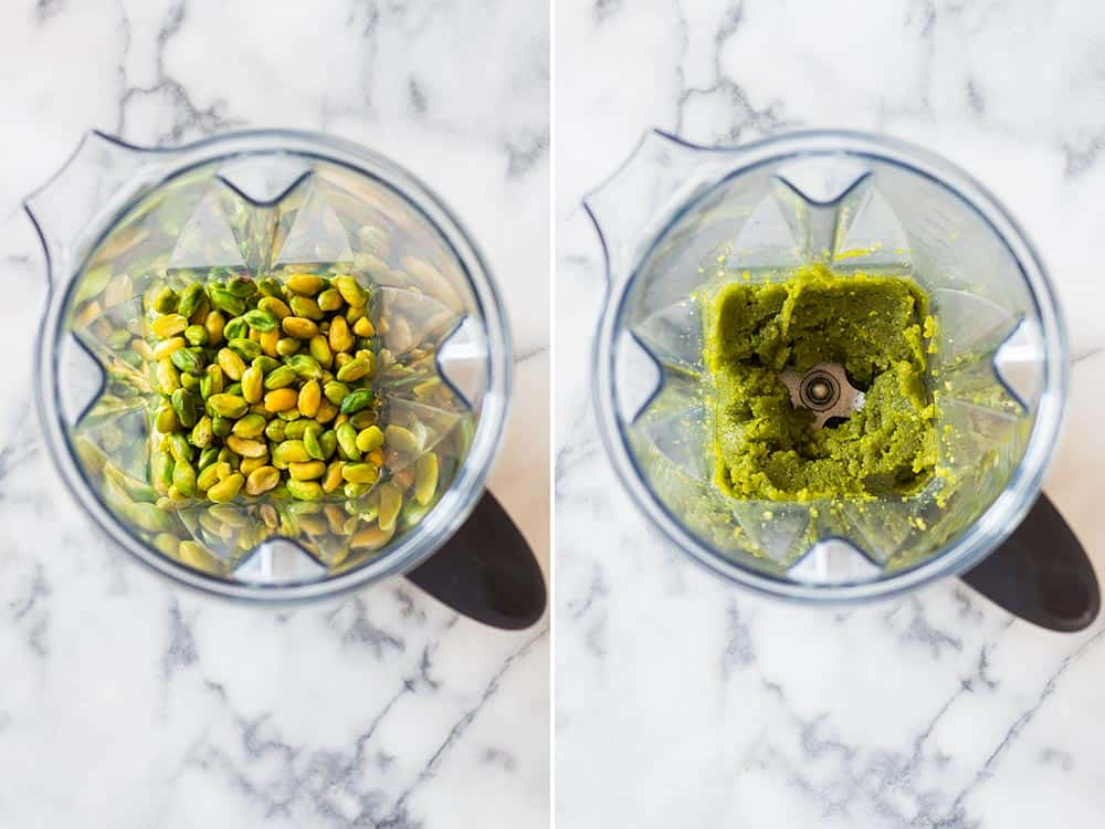 Left: top view of raw pistachio kernels in a blender. Right: top view of blender with pistachio paste.