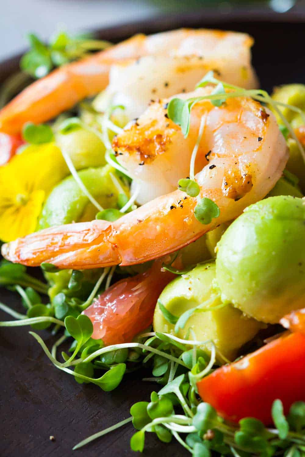 Texture of shrimp, avocado, tomato, arugula and grapefruit with cilantro dressing.