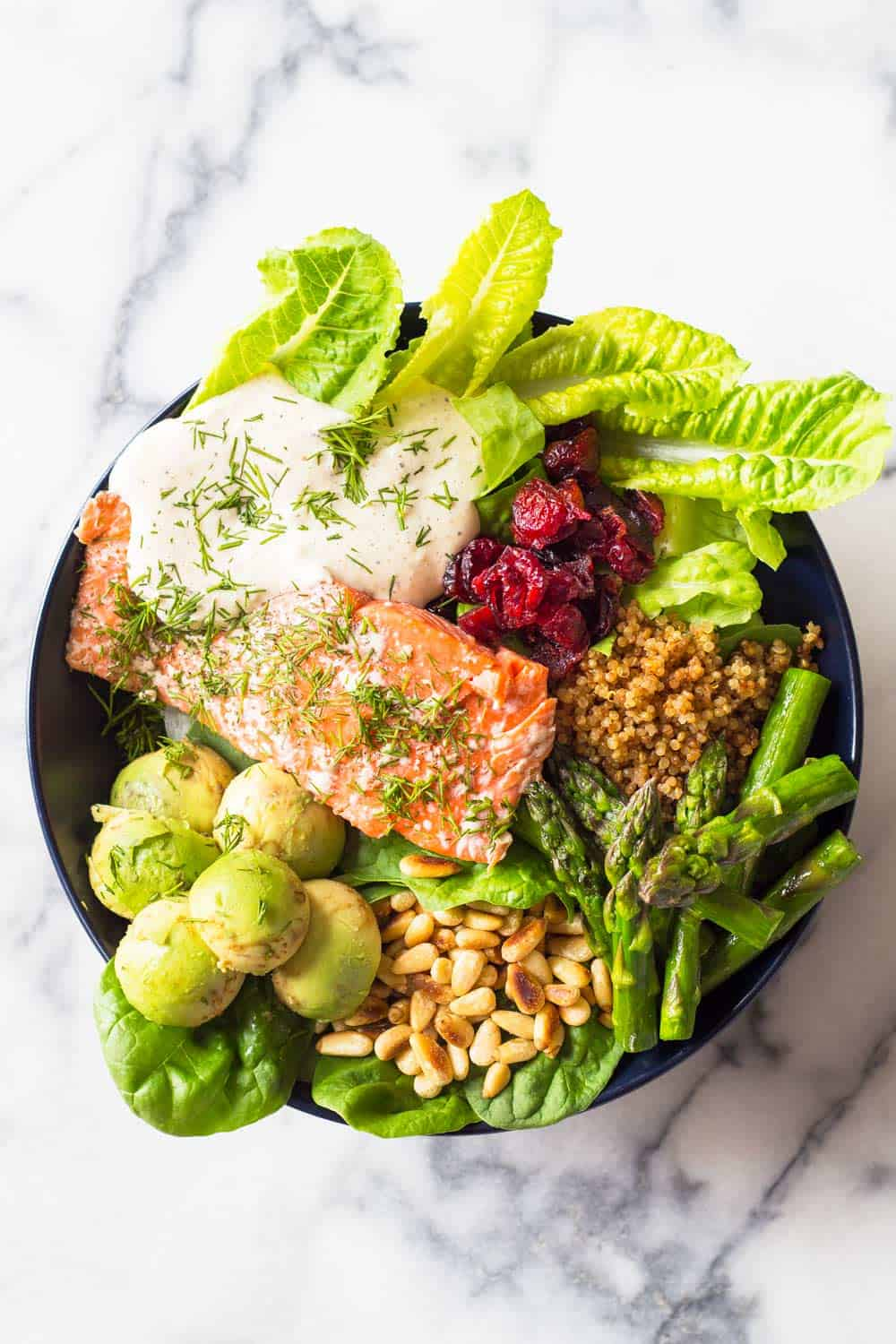 Sockeye Salmon is hands down the best fish in the whole wide world. Pair it with lettuce, asparagus, pine nuts, cranberries and avocado, drizzle the best salad dressing ever on it and you've just made yourself the best Sockeye Salmon recipe ever!