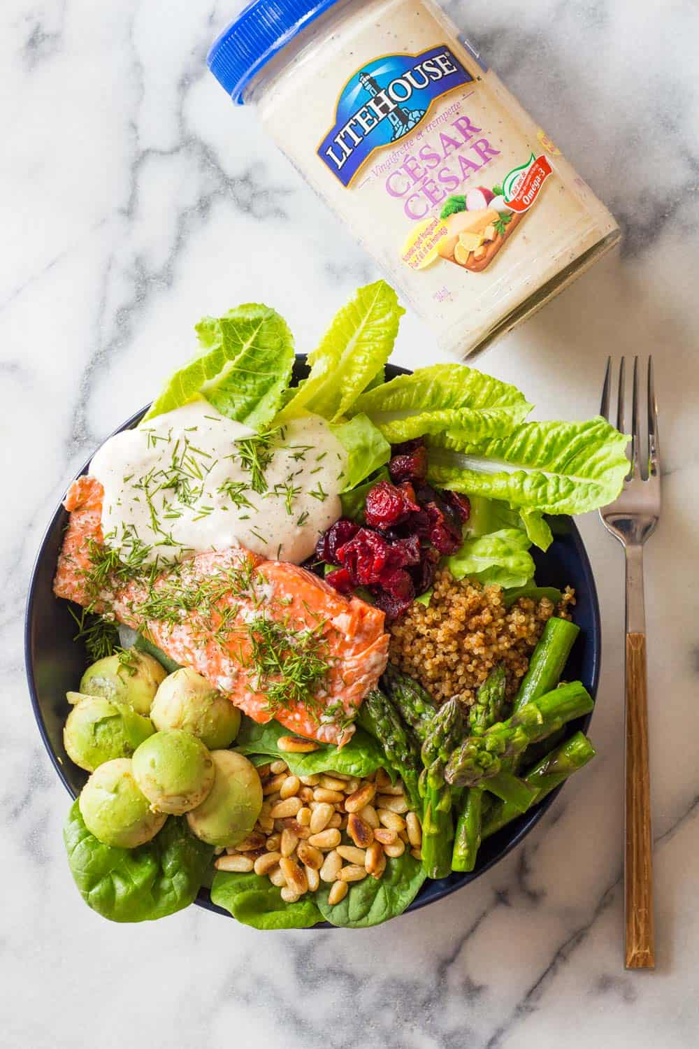 Sockeye Salmon is the best fish in the world. Pair it with lettuce, asparagus, pine nuts, cranberries, avocado & drizzle the best salad dressing ever on it.