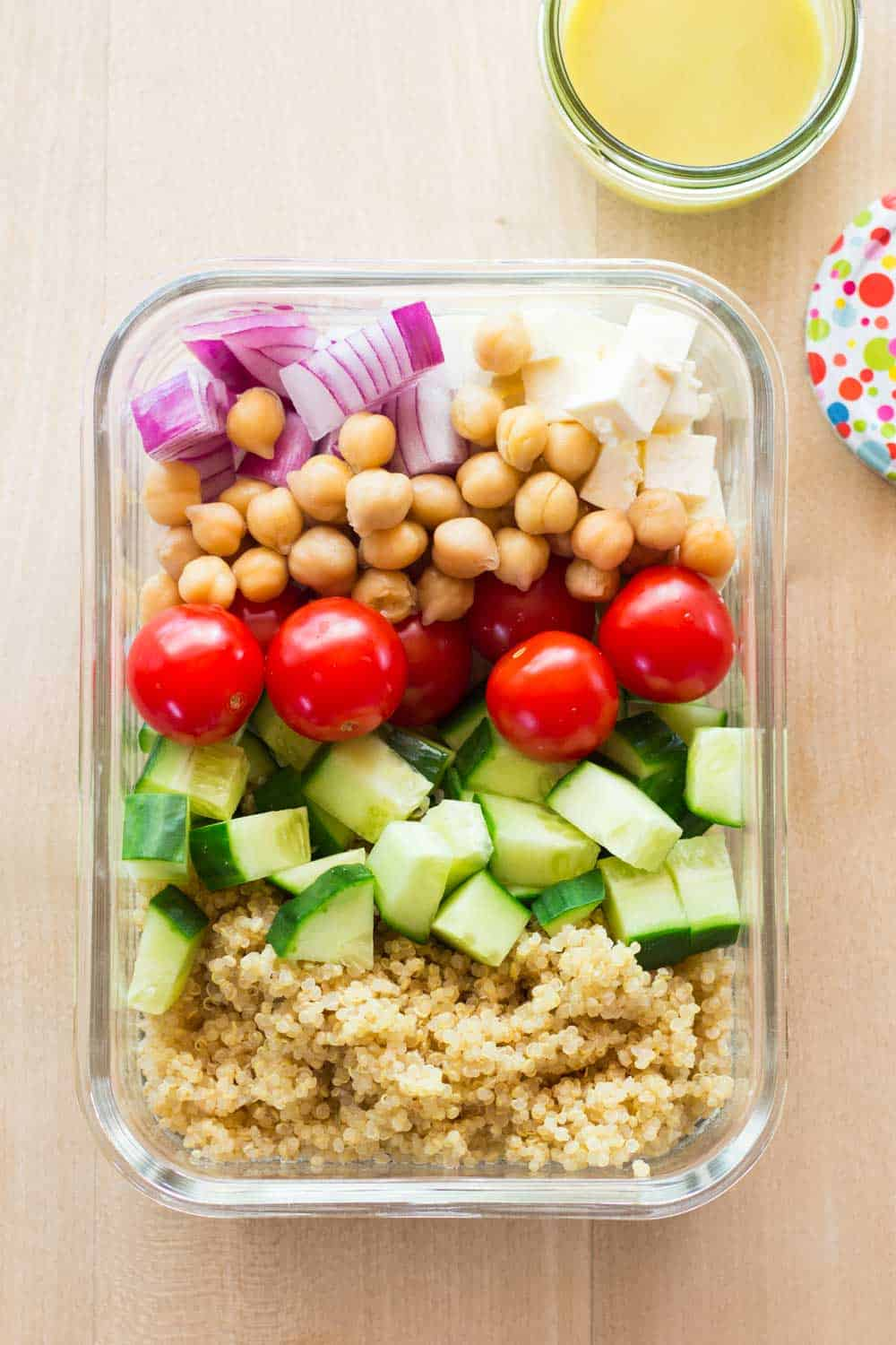 healthy meal prep bowl with lemon tahini dressing