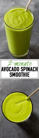 This Avocado Spinach Smoothie is the creamiest green smoothie you'll ever try. Plus, the mango gives it a super sweet tropical taste! YUM!