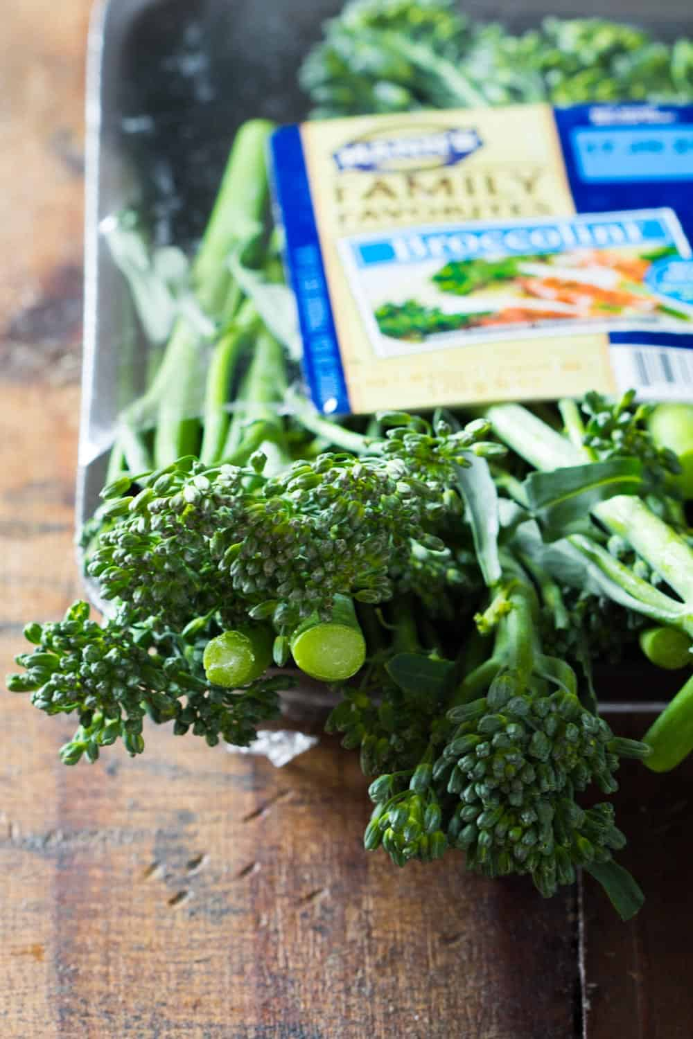 Close up of broccolini branches from an opened Mann's broccolini package