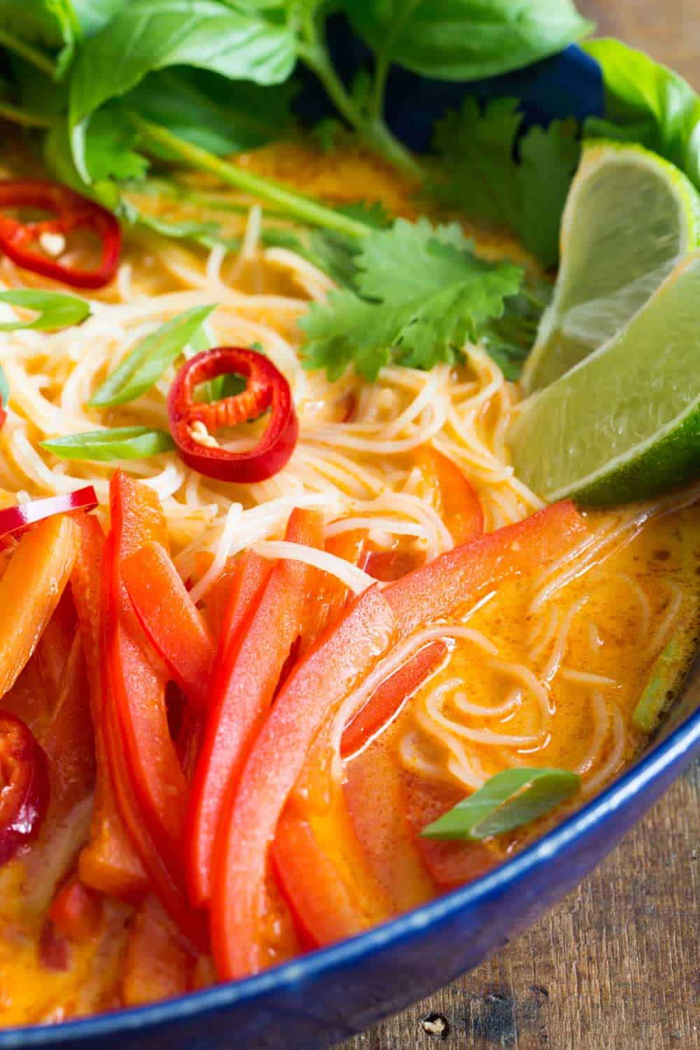 Close up of Coconut Curry Soup showing noodles, veggies and a slice of lime