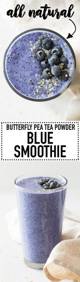 A Blue Smoothie made with Butterfly Pea Tea Powder. Yummy bananas, nutritious hemp seeds, almond milk and tea powder is all you need for this amazing blue-colored smoothie!