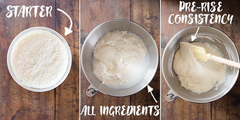 Starter, all ingredients and kneaded bread dough for artisan bread.