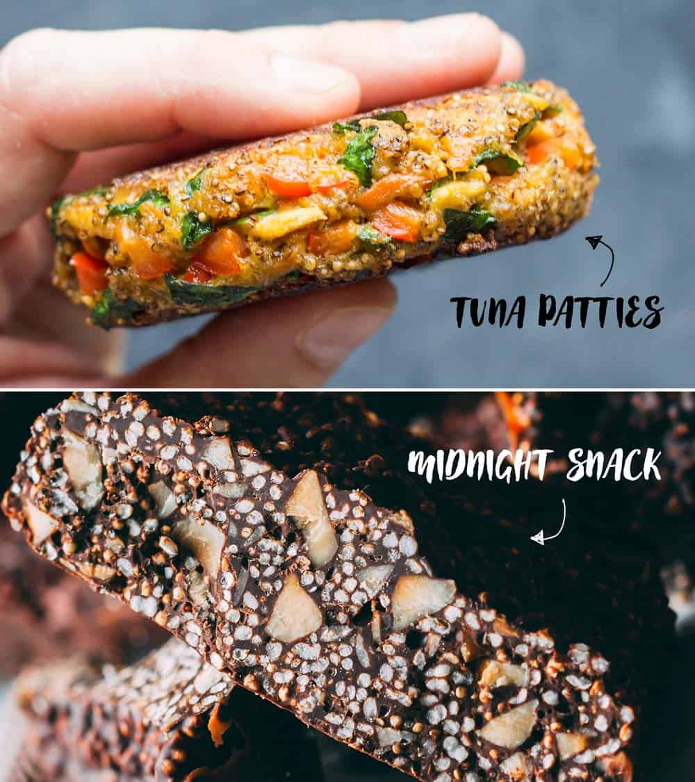 Examples of what to make with puffed amaranth - Tuna Patties and Midnight Snack