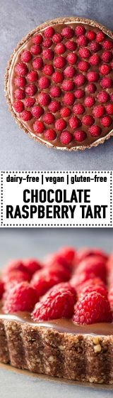 Pin for Chocolate Raspberry Tart with Almond Crust and thin White Chocolate Layer.
