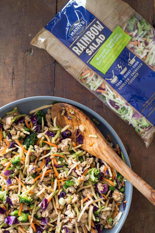 Low-Carb Stir-Fry made with Mann's Rainbow Salad.
