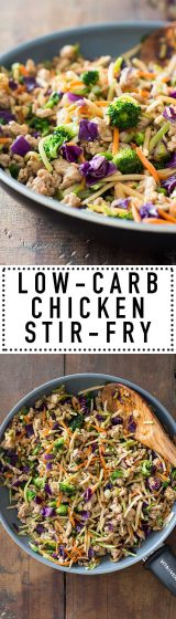 10 minutes for the most amazing Low-Carb Stir-Fry. Ground chicken, a rainbow of veggies, delicious asian flavors and a pan is all you need.