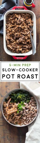 Learn how to make the easiest and yummiest and NO MESS Slow-Cooker Pot Roast or Crock Pot Roast you have tried in your life! 5 minutes prep for a dump and go recipe that'll reward you with an insanely good dinner! No browning required!