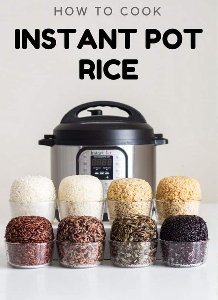 8 small bowls with different types of cooked rice placed in front of an Instant Pot