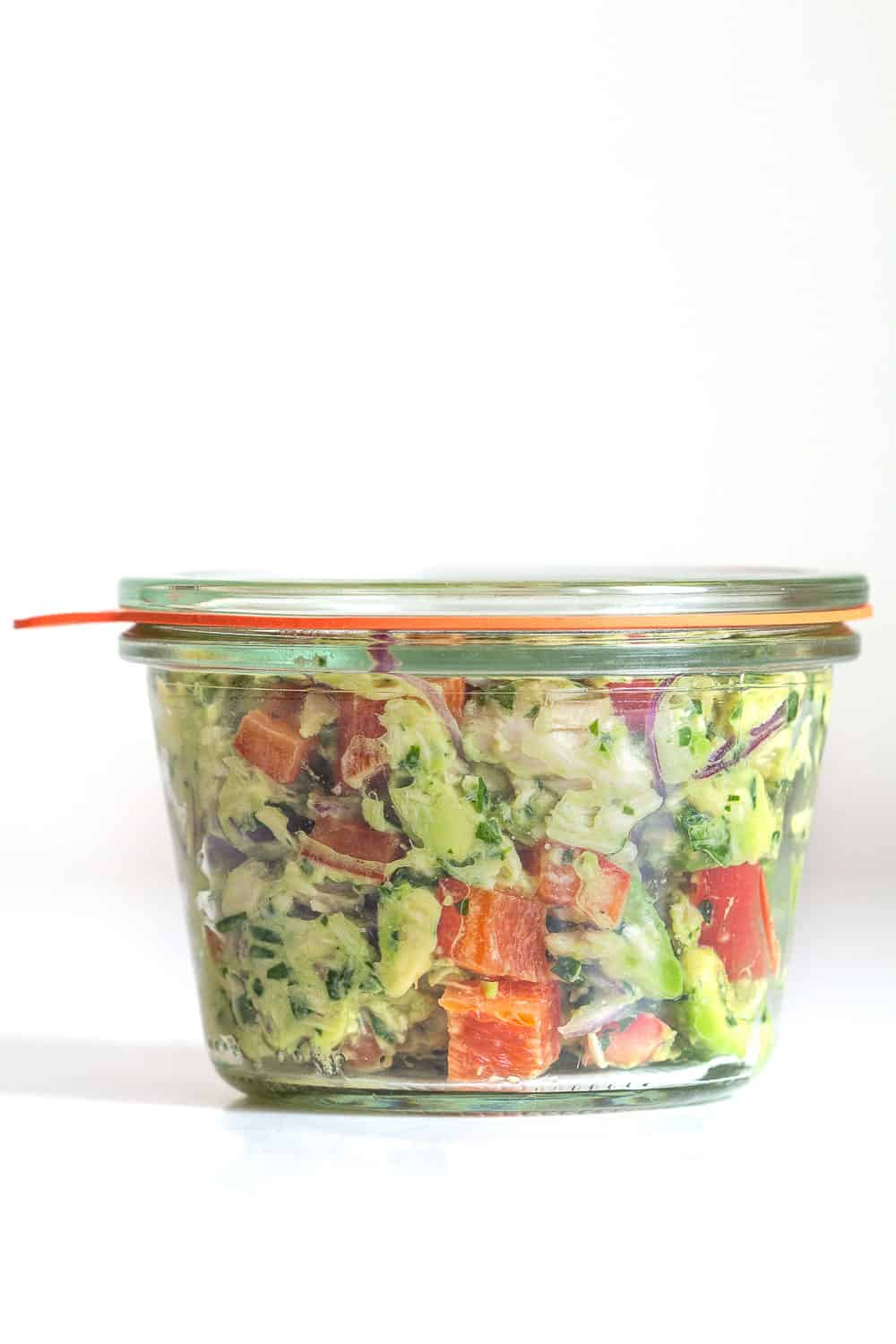 Avocado Tuna Salad in sealed glass jar for meal prep