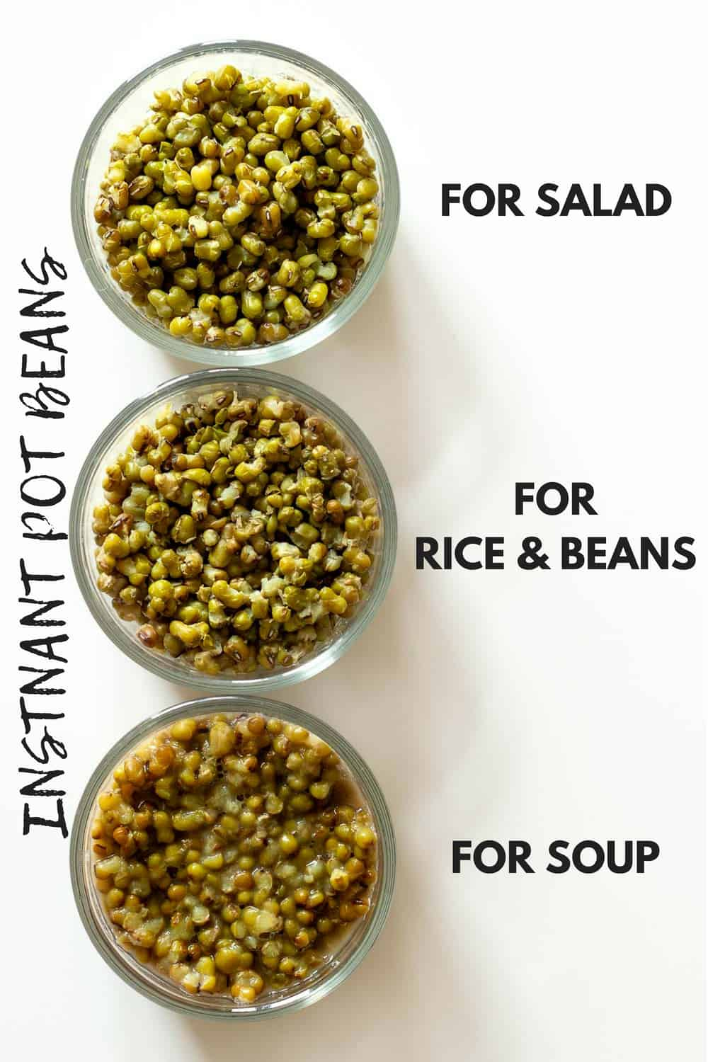 Showing consistency of Instant Pot Beans after different cooking times