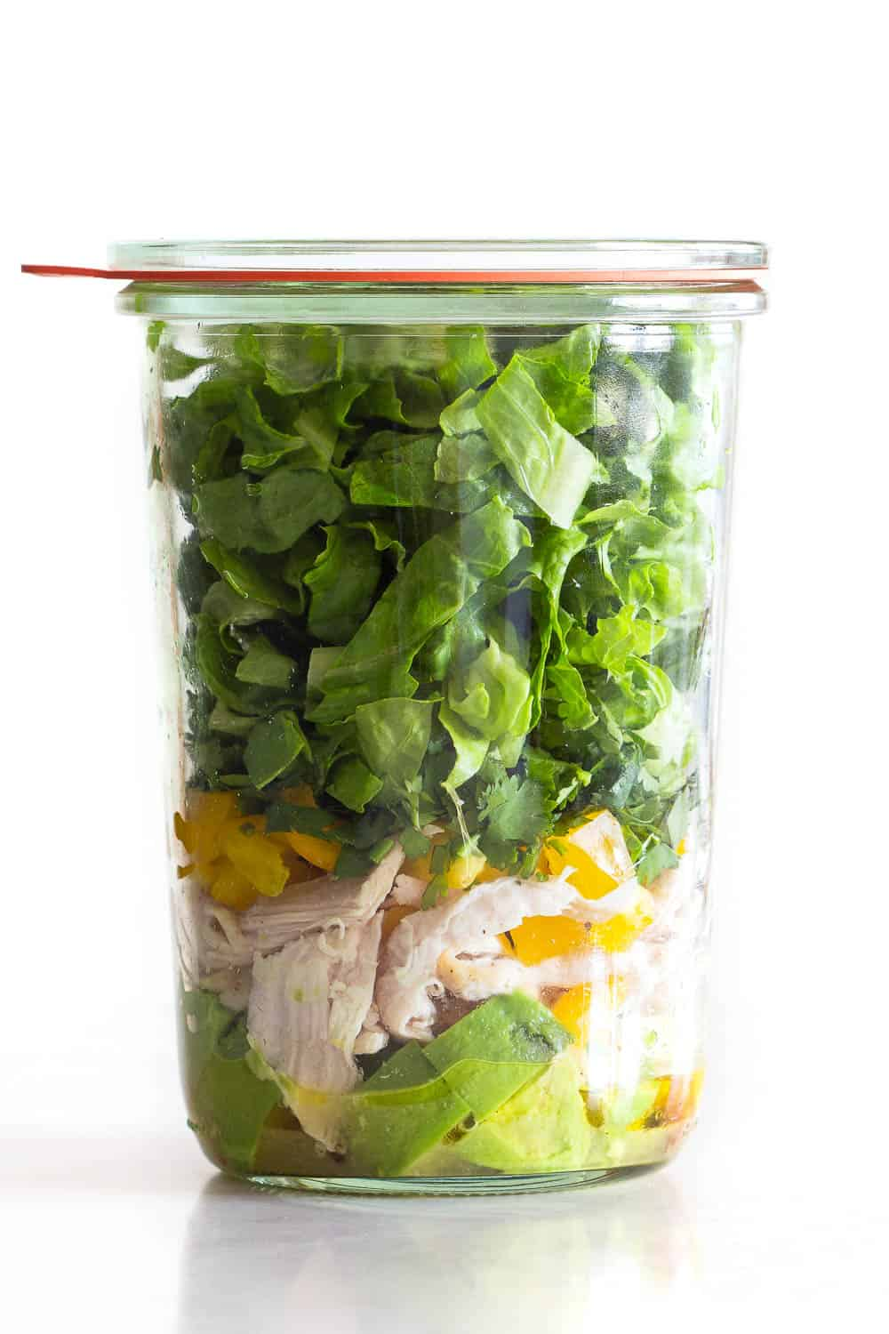 Meal Prep version of Avocado Chicken Salad layered in a glass jar