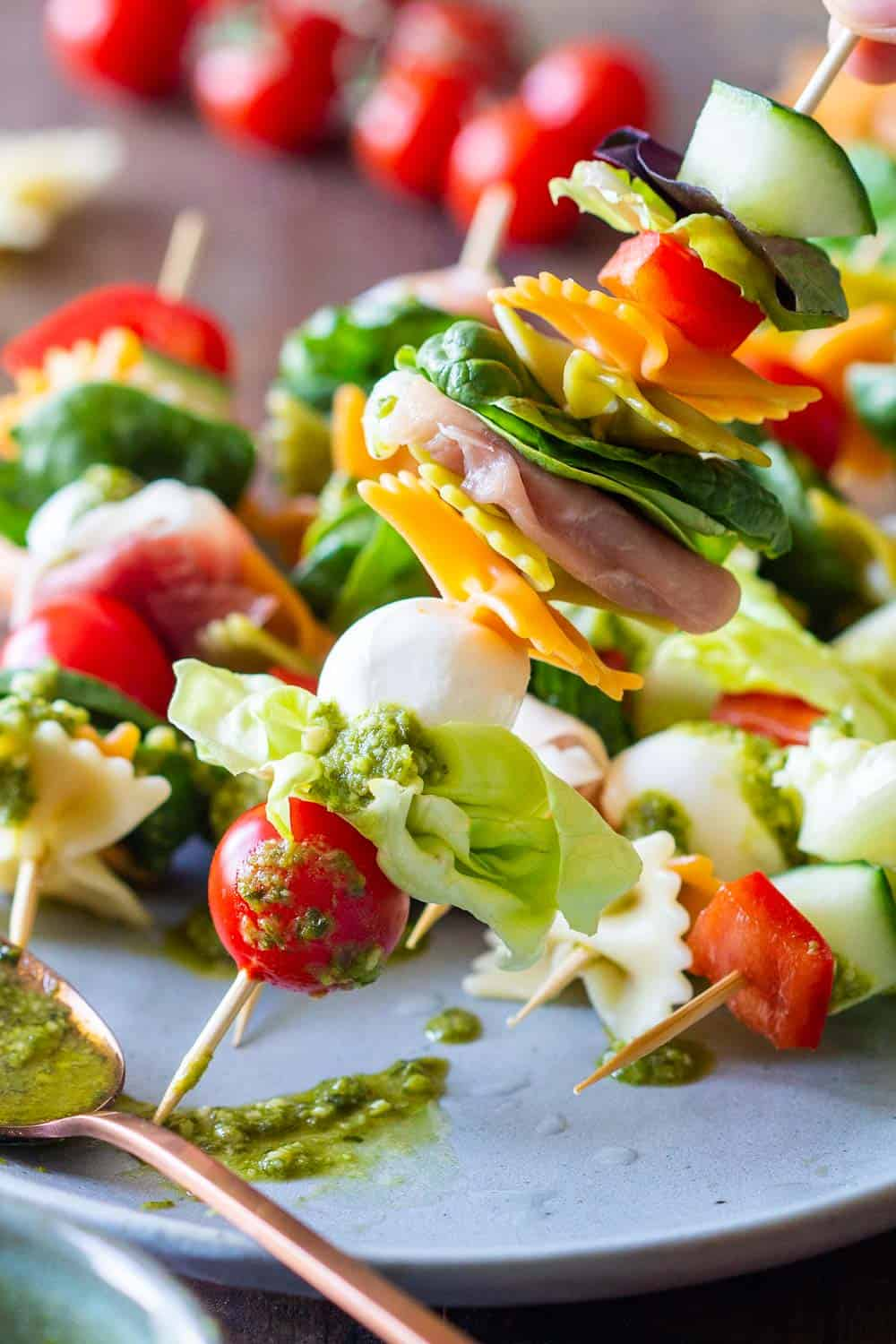 Close up of one Antipasto Skewer Recipe