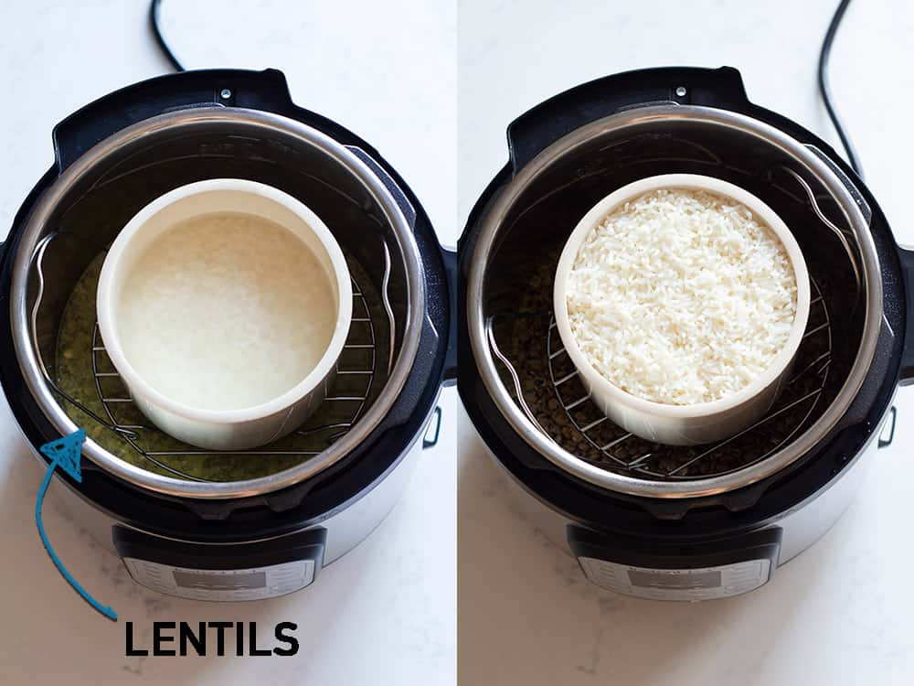 Instant Pot Lentils and Rice. Pot in Pot Method.