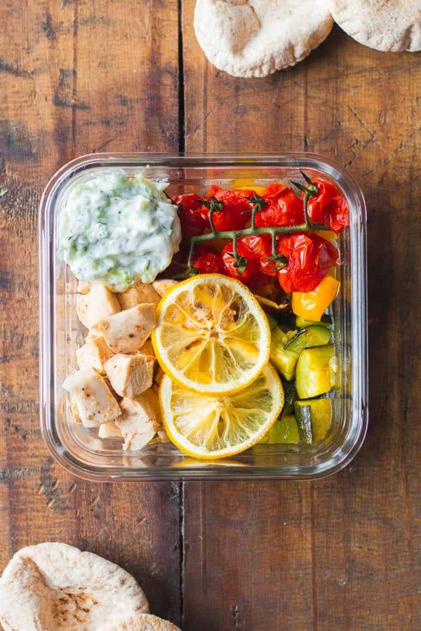 Square Meal Prep Bowl of Greek Chicken with Vegetables and Tzatziki