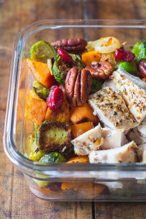 Maple Dijon Chicken Meal Prep Bowl Closeup
