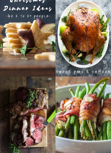 Christmas Dinner Ideas Collage with text overlay of Mains, Sides, Desserts