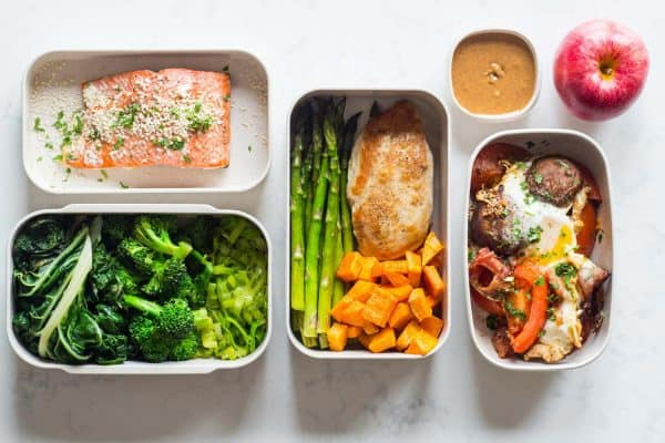 food in meal prep containers