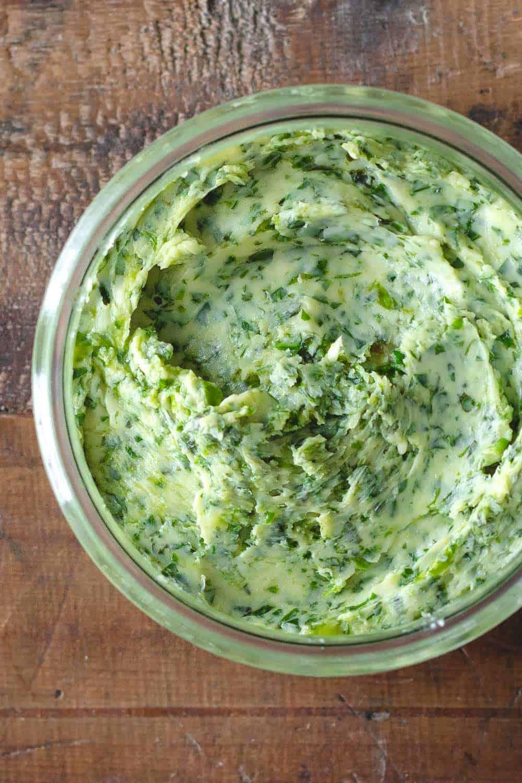 Garlic Herb Butter in a jar