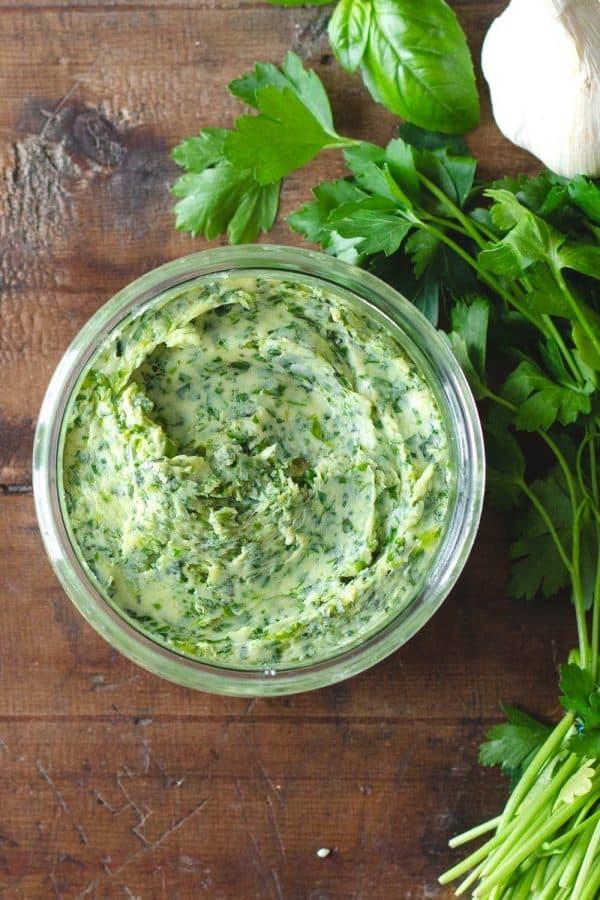 Herb Garlic Butter in a jar