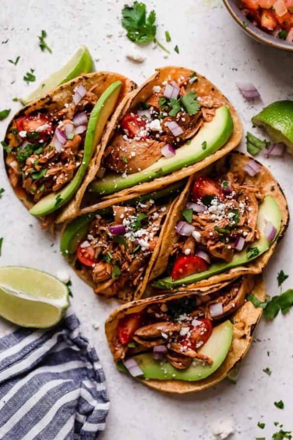 chicken tacos loaded with healthy toppings