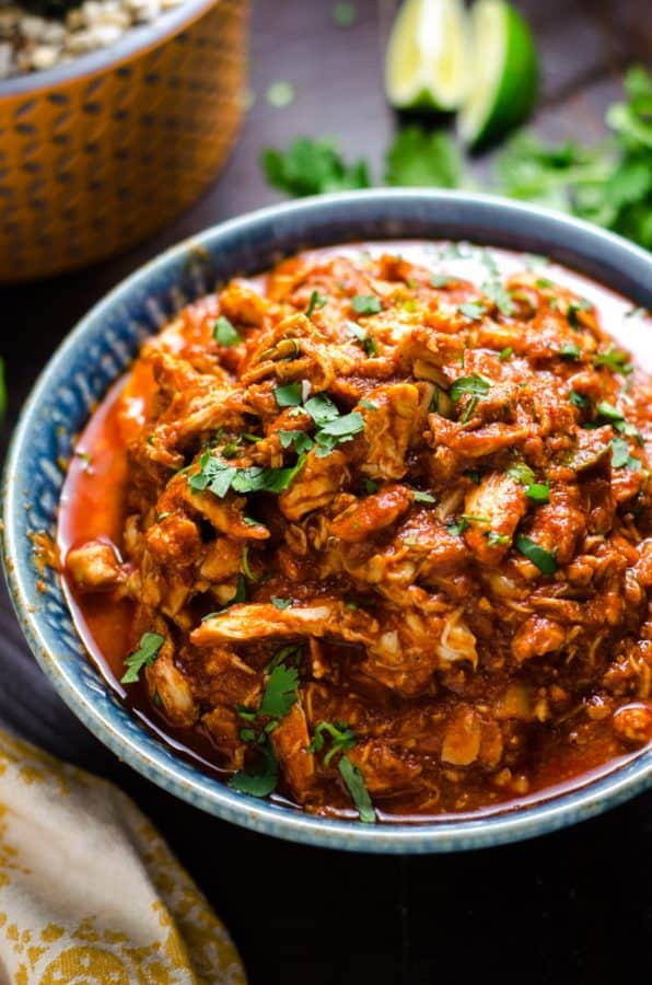 bowl of spicy Mexican shredded chicken