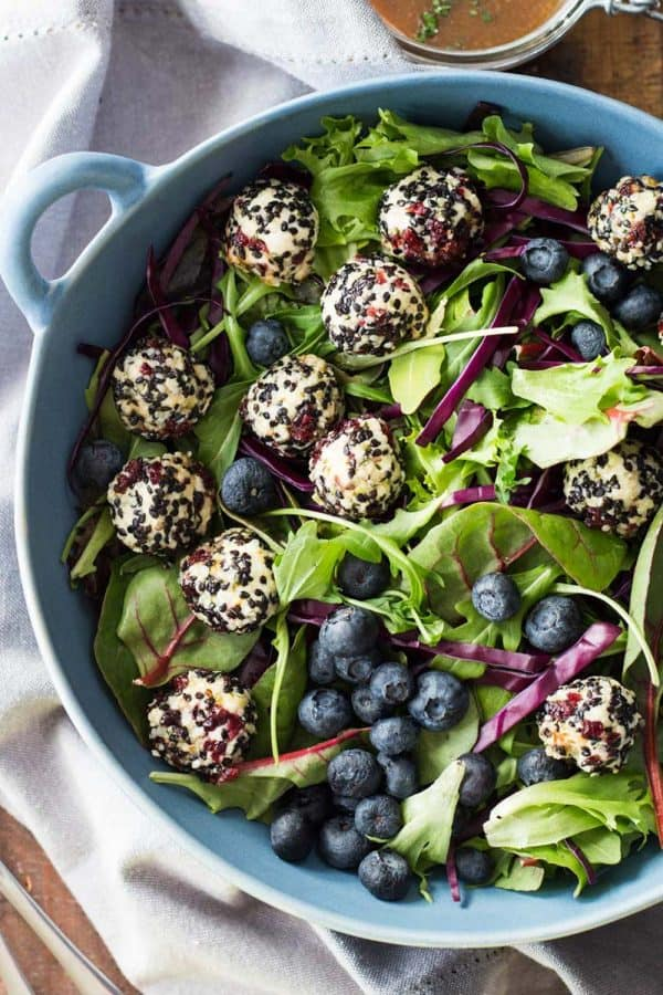 Warm Goat Cheese Salad in blue salad bowl