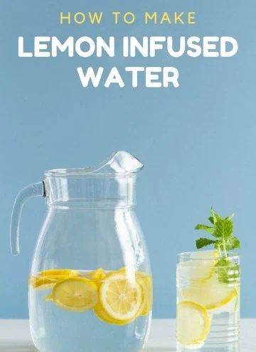 Lemon Infused Water in a Pitcher and a glass