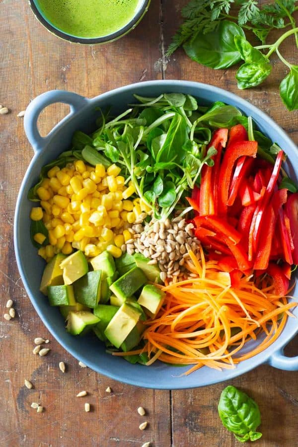 Summer Salad Ingredients in a blue salad bowl