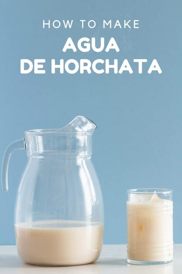 Agua de Horchata in a glas and pitcher