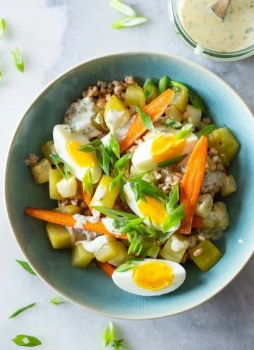 Warm Farro Salad in a bowl