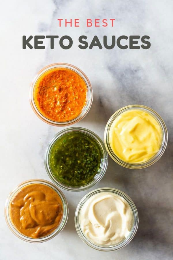 5 Different Keto Sauces in jars