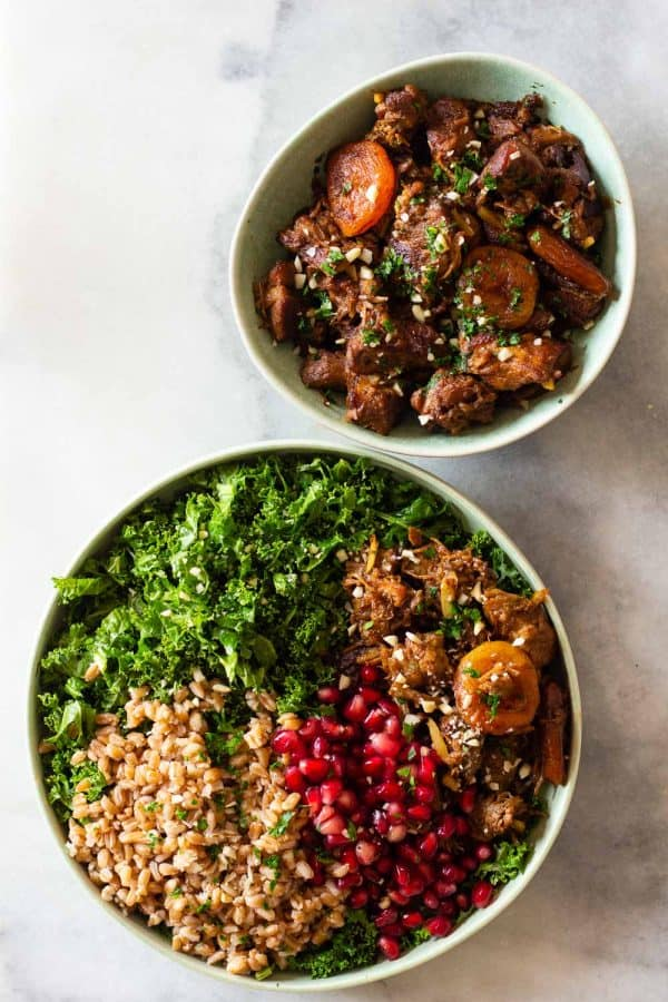 Middle Eastern Farro Salad and Lamb Stew