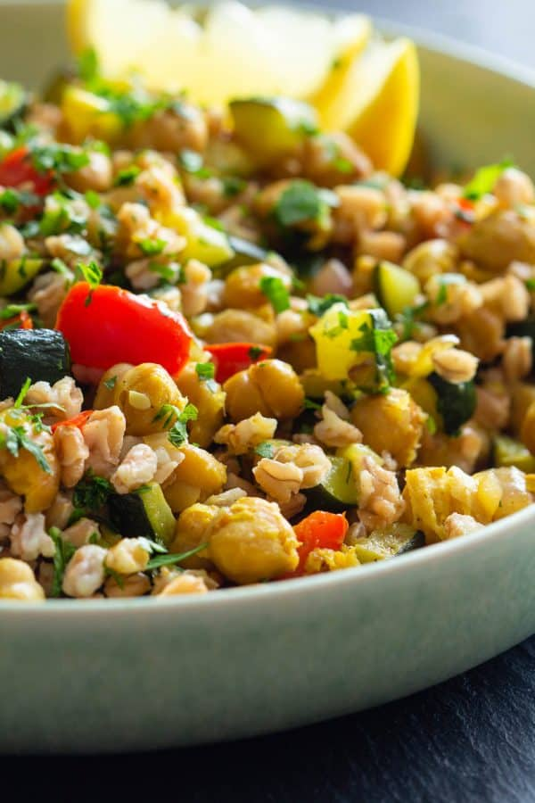 Roasted Chickpea Salad in a green bowl