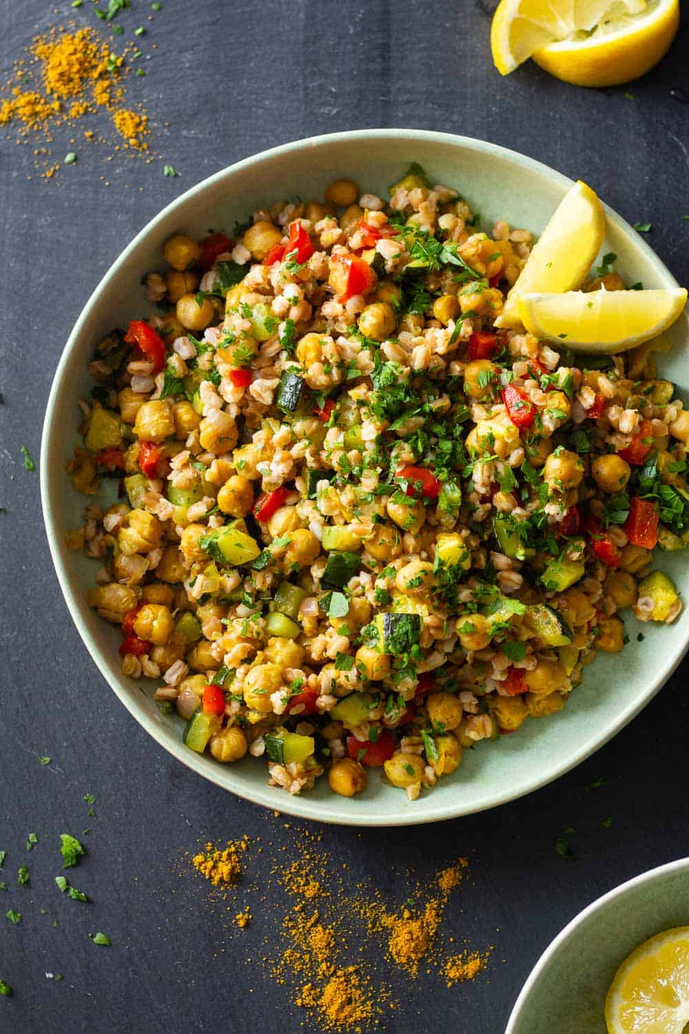 Roasted Chickpea Salad with Farro and Vegetables
