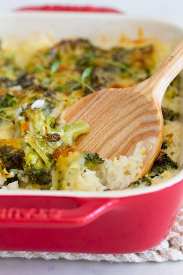 Broccoli Rice Casserole in baking dish