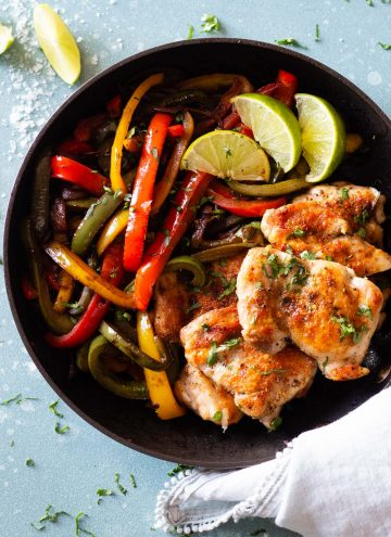 Chicken Fajitas in a cast iron skillet